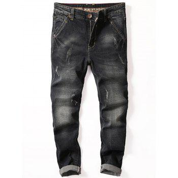 Scratch Straight Slim Fit Jeans - BLACK 38