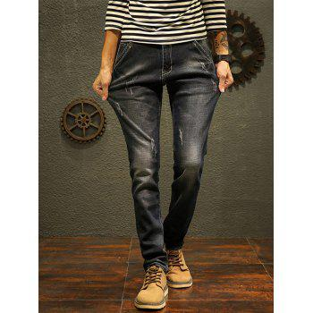 Scratch Straight Slim Fit Jeans - BLACK 40