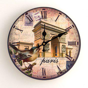 Triumphal Arch Analog Wood Round Wall Clock