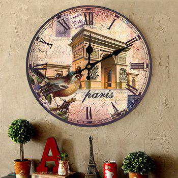 Triumphal Arch Analog Wood Round Wall Clock - ANTIQUE BROWN