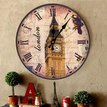 Horloge murale analogique Big Ben Round Wood - Antique Brun 30*30CM