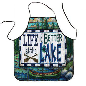 Cartoon Lake Proverbs Print Waterproof Apron