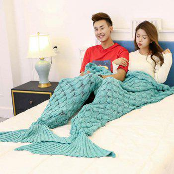Fish Scale Knitted Pattern Mermaid Blanket For Lovers - GREEN GREEN
