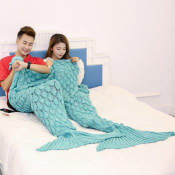 Fish Scale Knitted Pattern Mermaid Blanket For Lovers - GREEN 180*155CM