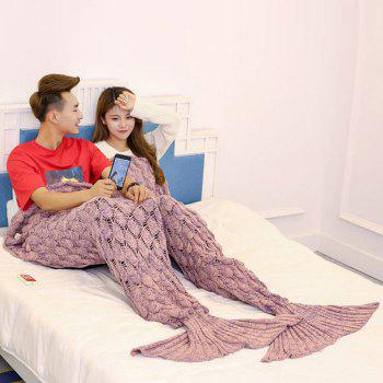 Fish Scale Knitted Pattern Mermaid Blanket For Lovers - PINK PINK