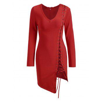 Lace-up Asymmetric Long Sleeve Bandage Dress - RED M