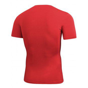 Stretchy Fitted Short Sleeve Gym T-shirt - RED RED