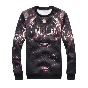 3D Devil Graphic Print Long Sleeve Sweatshirt - BLACK 2XL