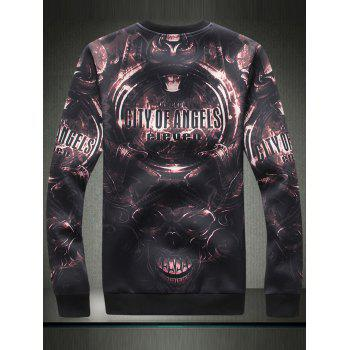 3D Devil Graphic Print Long Sleeve Sweatshirt - BLACK BLACK