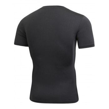 Stretchy Fitted Short Sleeve Gym T-shirt - BLACK BLACK