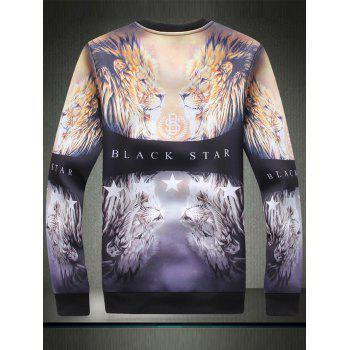 Symmetrical 3D Lion Graphic Print Sweatshirt - Noir 3XL