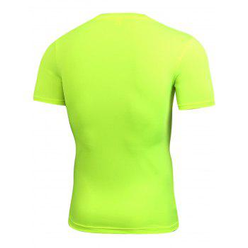 Stretchy Fitted Short Sleeve Gym T-shirt - NEON GREEN NEON GREEN