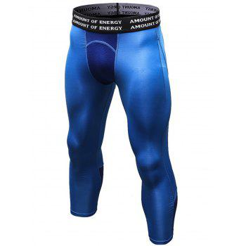 Openwork Panel Stretchy Quick Dry Gym Capri Pants - BLUE M