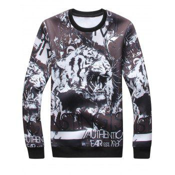 3D Tiger Graphic Print Long Sleeve Sweatshirt - BLACK 3XL