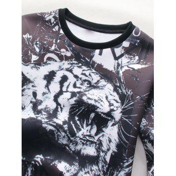 3D Tiger Graphic Print Long Sleeve Sweatshirt - 3XL 3XL