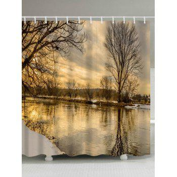 Sunset River Print Fabric Bathroom Shower Curtain - COLORMIX COLORMIX