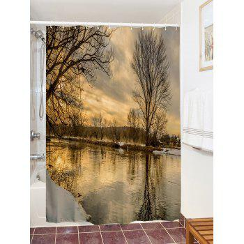 Sunset River Print Fabric Bathroom Shower Curtain - COLORMIX W71 INCH * L79 INCH