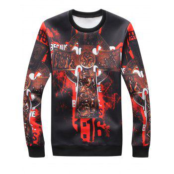 3D Cross Graphic Print Long Sleeve Sweatshirt - COLORMIX COLORMIX