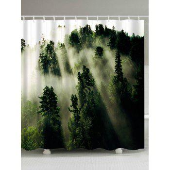 Forest Trees Fog Print Fabric Bathroom Shower Curtain - GREEN GREEN