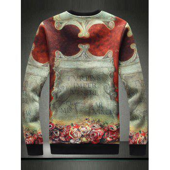 3D Stele Graphic Print Long Sleeve Sweatshirt - XL XL