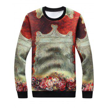 3D Stele Graphic Print Long Sleeve Sweatshirt - COLORMIX XL