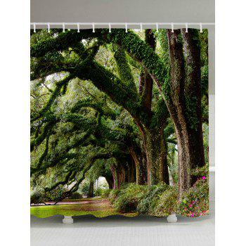 Forest Trees Avenue Print Fabric Bathroom Shower Curtain - GREEN GREEN