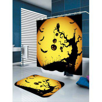 Imperméable Halloween Pumpkin Withered Tree Print Rideau de douche - Jaune et Noir W71 INCH * L71 INCH