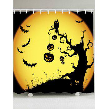 Waterproof Halloween Pumpkin Withered Tree Print Shower Curtain