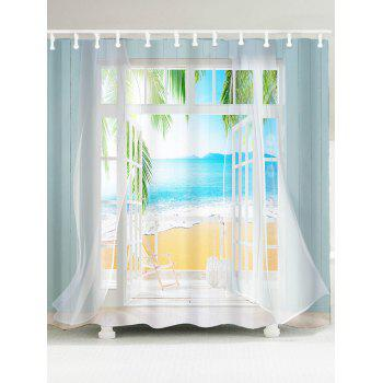 3D False Window Seawater Printed Shower Curtain - COLORMIX W79 INCH * L71 INCH