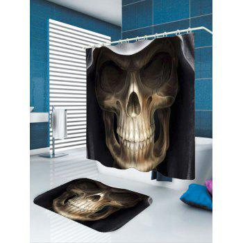 3D Terrible Skull Printed Halloween Shower Curtain - BLACK/BROWN W79 INCH * L71 INCH
