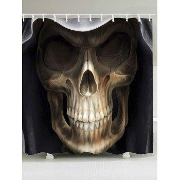 3D Terrible Skull Printed Halloween Shower Curtain - BLACK AND BROWN W79 INCH * L71 INCH