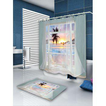 Waterproof 3D False Window Sunset Printed Shower Curtain - COLORFUL W71 INCH * L71 INCH