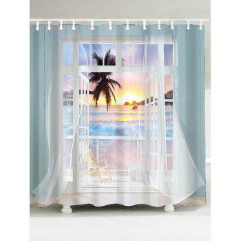 Waterproof 3D False Window Sunset Printed Shower Curtain - COLORFUL W79 INCH * L71 INCH