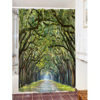 Forest Avenue Print Fabric Bathroom Shower Curtain - GREEN GREEN