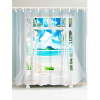 Waterproof 3D Window Frame Printed Shower Curtain - BLUE W59 INCH * L71 INCH