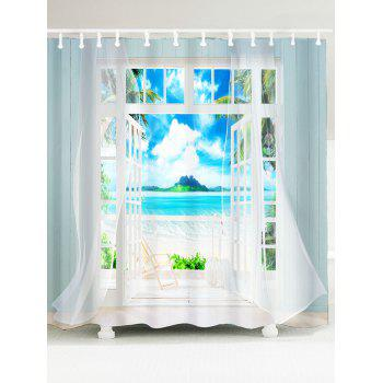 Waterproof 3D Window Frame Printed Shower Curtain - BLUE BLUE