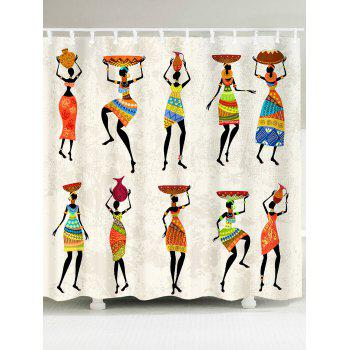 Waterproof African Tribal Style Lady Pattern Shower Curtain - COLORFUL COLORFUL