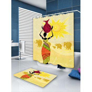 Waterproof African Woman Elephant Pattern Shower Curtain - COLORFUL COLORFUL