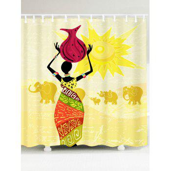 Waterproof African Woman Elephant Pattern Shower Curtain - COLORFUL W71 INCH * L71 INCH