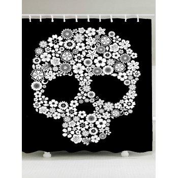 Halloween Flowers Skull Printed Shower Curtain - WHITE AND BLACK W59 INCH * L71 INCH