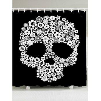 Halloween Flowers Skull Printed Shower Curtain - WHITE AND BLACK WHITE/BLACK