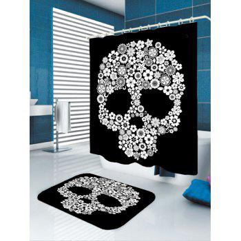 Halloween Flowers Skull Printed Shower Curtain - WHITE/BLACK WHITE/BLACK