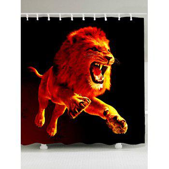 3D Lion Printed Showerproof Shower Curtain - DARKSALMON W59 INCH * L71 INCH