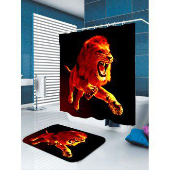 3D Lion Printed Showerproof Shower Curtain - W59 INCH * L71 INCH W59 INCH * L71 INCH