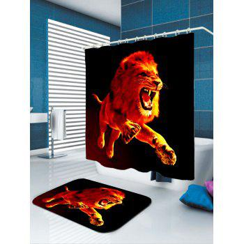 3D Lion Printed Showerproof Shower Curtain - W65 INCH * L71 INCH W65 INCH * L71 INCH
