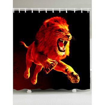 3D Lion Printed Showerproof Shower Curtain - DARKSALMON W79 INCH * L71 INCH