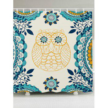 Waterproof Leaves Owl Printed Shower Curtain - COLORFUL W59 INCH * L71 INCH