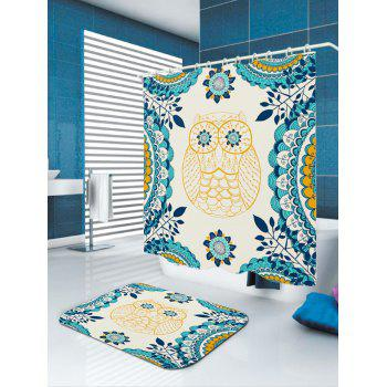 Waterproof Leaves Owl Printed Shower Curtain - COLORFUL COLORFUL