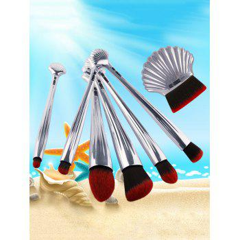 7Pcs Ocean Shell Elemnet Plating Makeup Brushes Set -  SILVER