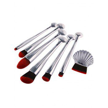 7Pcs Ocean Shell Elemnet Plating Makeup Brushes Set - SILVER SILVER